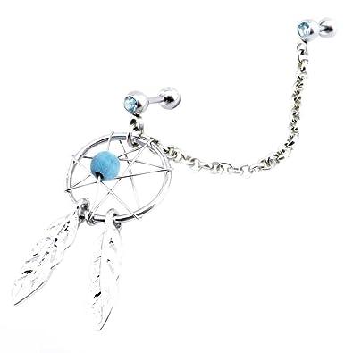 Dream Catcher Helix Earring Aquamarine Crystal Gem Dream catcher Lobe to upper ear Cartilage 24
