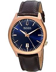 Bulova Accutron II Blue Dial Stainless Steel Leather Quartz Mens Watch 97B133