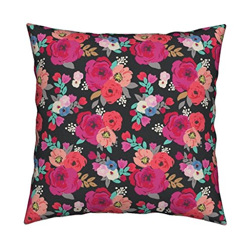 Peony Organic Sateen Throw Pillow Rose Bouquet Hot Pink Peach Coral Black by Crystal Walen Cover and Insert Included
