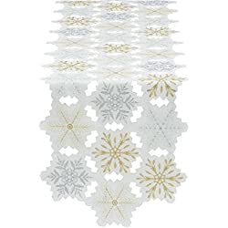 "Holiday Embroidered Table Runner, 14"" X 54"", Metallic Snowflakes"