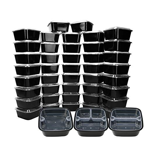 Luxcathy 45 Pack Square Bento Box with Lids - 15 of 1 Compartment, 15 of 2 Compartment, 15 of 3 Compartment, Microwave Dishwasher Freezer Safe, BPA Free