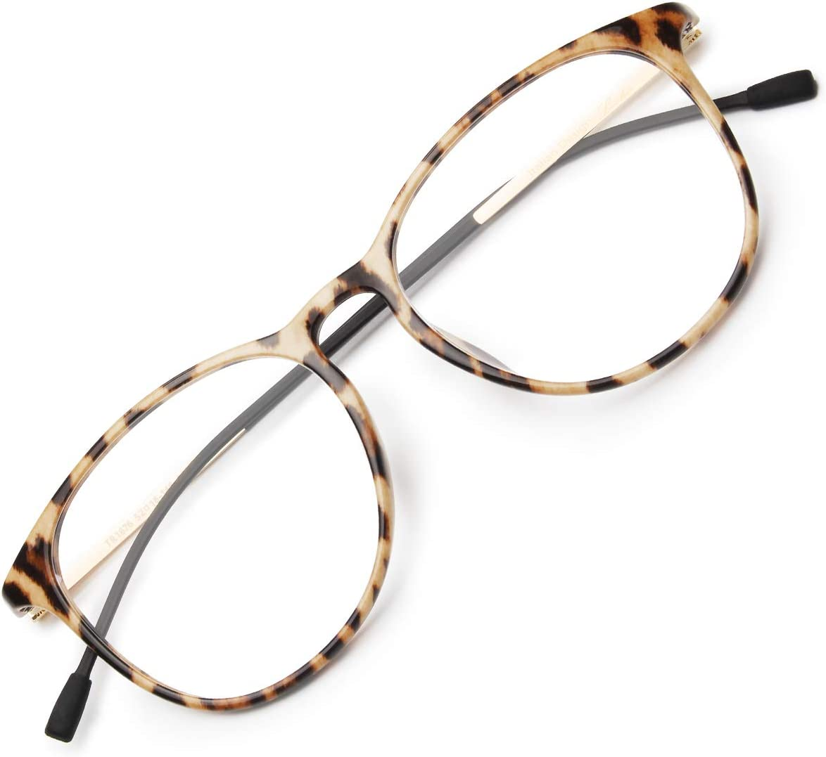 Livho Blue Light Blocking Computer Glasses for Women Men,Anti Eyestrain Blue Light Filter Lens Lightweight TR90 Eyeglasses - 0.0 Magnification (Leopard/Beige/1676-05)