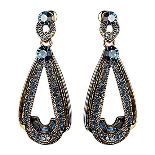 YANGLAN Retro Drop-Shaped Earrings Female, Long Hanging Temperament Court Wind Earrings, Trend Drop Earrings with Accessories ()