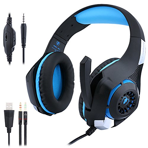 Sonlipo USB Surround Stereo Wired Gaming Headset Over Ear Headphones with Mic Revolution Volume Control Noise Cancelling LED Light (Black/ Blue)
