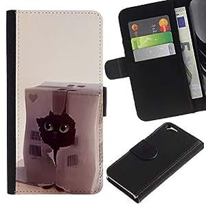 KLONGSHOP // Tirón de la caja Cartera de cuero con ranuras para tarjetas - Gato divertido Corazón lindo del animal doméstico Negro Casa - Apple Iphone 6 //