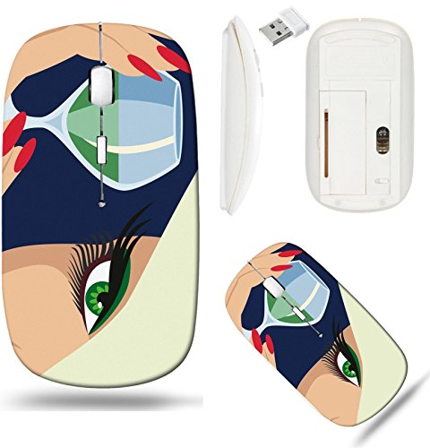 Liili Wireless Mouse White Base Travel 2.4G Wireless Mice with USB Receiver, Click with 1000 DPI for notebook, pc, laptop, computer, mac book IMAGE ID: 7298947 Lady with a glass of liqueur - Liqueur Glass