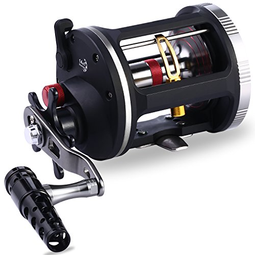 (One Bass Fishing Reels Level Wind Trolling Reel Conventional Jigging Reel for Saltwater Big Game Fishing-(TA3000 Black-Gold-Right Handed))