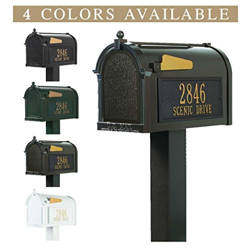 Personalized Whitehall Premium Mailbox with Side Address Plaques & Post Package (4 colors available) (Premium Whitehall Mailbox Package)