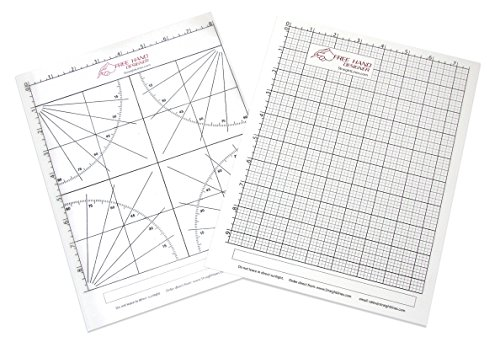 2 x Lettersize 'Freehand Designer' Sheets. Draw Perfect Straight Lines Templates. 1 x Grid Sheet for Scale Drawings , 1 x Protractor Sheet for Angles.