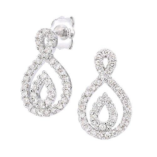 Naava Femme 9carats (375/1000) Or blanc Rond Blanc Diamant
