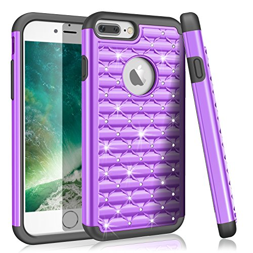 TILL iPhone 8 Plus Case, iPhone 7 Plus Case for Girls Women, (TM) Studded Rhinestone Crystal Bling Diamond Sparkly Shockproof Hybrid Defender Glitter Protective Case Cover for iPhone 7+/ 8+ [Purple]