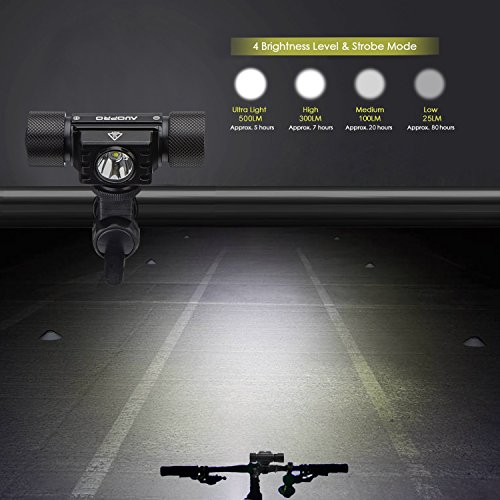 AUOPRO LED Bike Light Set - Bicycle Headlight USB Rechargeable and Red Taillight, Front and Back Rear Lights, Water Resistant Easy to Install for Road Cycling, Commuting by AUOPRO (Image #1)