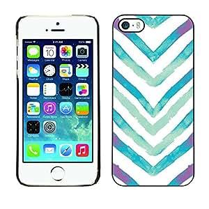 TopCaseStore / la caja del caucho duro de la cubierta de protección de la piel - Watercolor White Blue V - Apple iPhone 5 / 5S