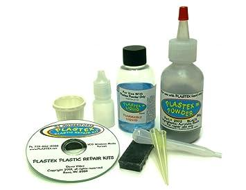 Plastex Plastic Repair Kit - Easily glue, repair or remake broken plastic   (Standard Black Kit)
