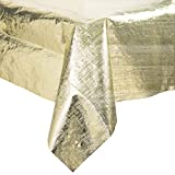 38321 54'' x 108'' Gold Metallic Plastic Table Cover - 12/Case By TableTop King