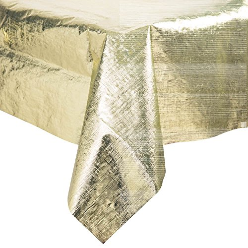 38321 54'' x 108'' Gold Metallic Plastic Table Cover - 12/Case By TableTop King by TableTop King