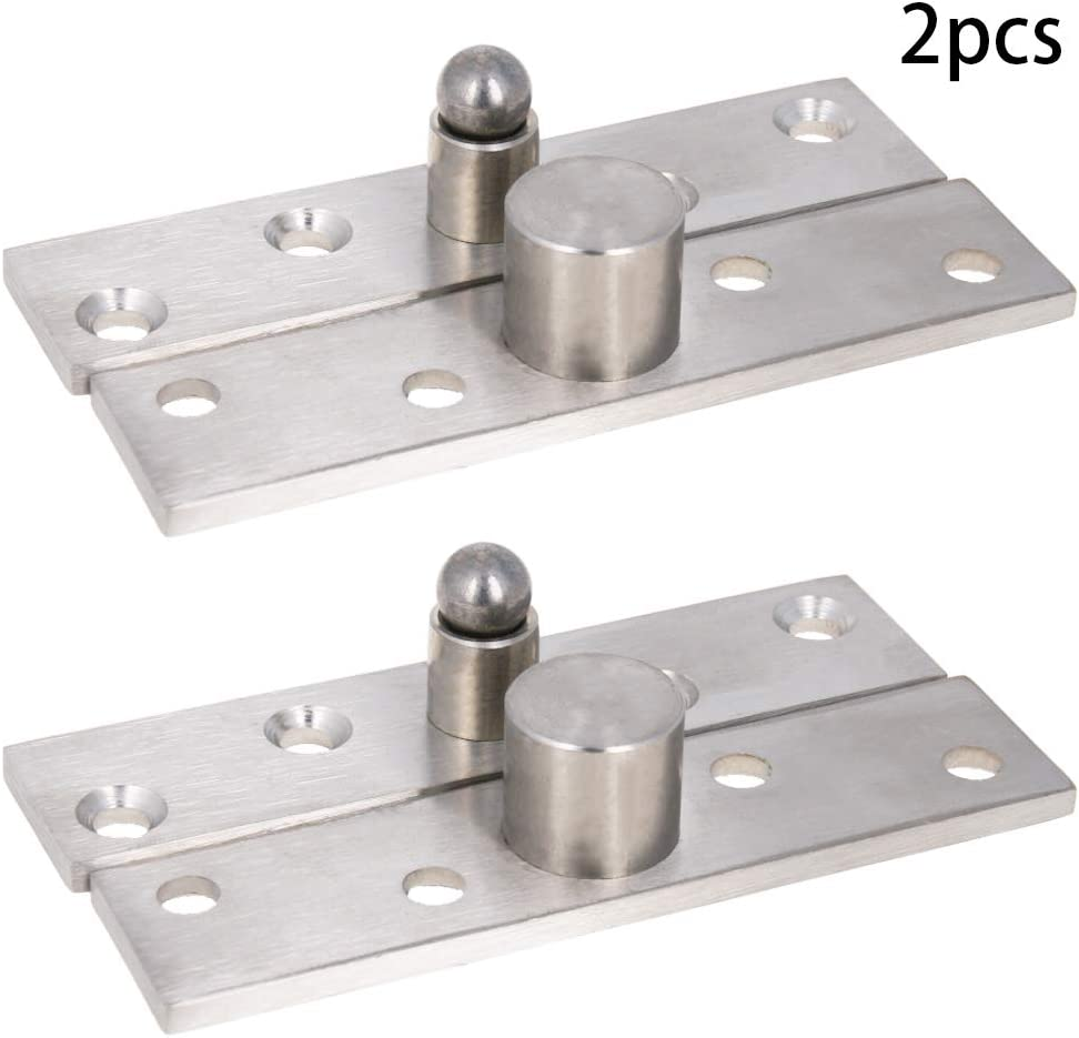 MroMax 2PCS Door Hinge Hardware Stainless Steel 360 Degree Rotation Ball Pivot Center Hinge Set 60mm x 11mm Silver Tone