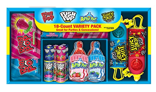 Bazooka Candy Multibrand Shoebox (Push Pops, Ring Pops, Baby Bottle Pops, Knock-Out Punch Juicy Drop Pops and Juicy Drop Pops) 18 Count Box