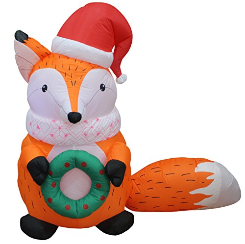 5 Foot Tall Lighted Christmas Inflatable Fox with Christmas Hat and Wreath Indoor Outdoor Yard Decoration (Outdoor Lighted Wreaths Christmas)