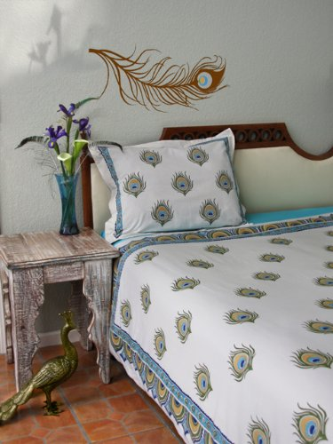 Dance O Peacock ~ Ivory Peacock Feather Print Twin Duvet Cover 70x90 by Saffron Marigold