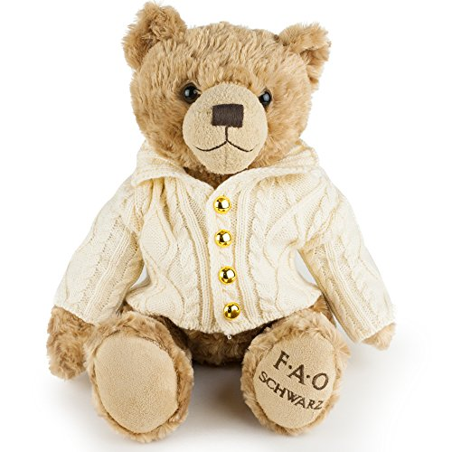 FAO Schwarz Original Classic Stuffed Teddy Bear Plush Animal for Children and Toddlers, Super Soft, Adorable Anniversary, Birthday or Valentine Gift Idea, Brown Snuggle Pal with Sweater - 12 Inch