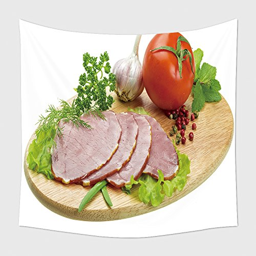 Home Decor Tapestry Wall Hanging Ripe Fresh Ham With Vegetables for Bedroom Living Room Dorm (Jock Hams)