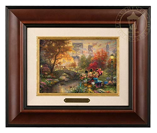 Thomas Kinkade Studios Mickey and Minnie Sweetheart Central Park 5 x 7 Brushwork (Burl Frame) ()