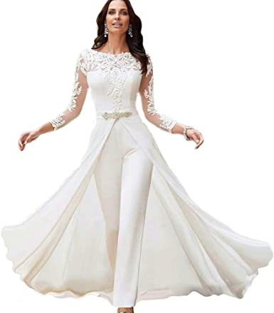 CY Jumpsuits Pants Long Sleeve Wedding Dresses Lace Satin with Overskirts  Plus Size Bridal Gowns