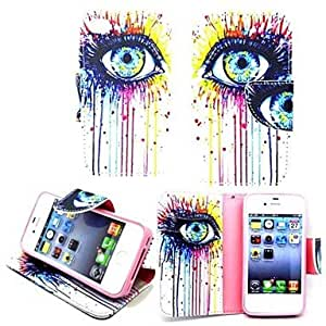 Colorful Eyes PU Leather TPU Back Painting Card Holder Wallet Case with Oval Buckle for iPhone 4/4S