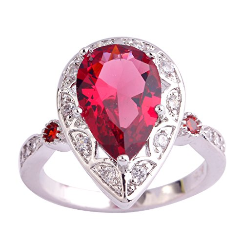 (Psiroy 925 Sterling Silver Created Ruby Spinel Filled Pear Shaped Halo Anniversary Ring Size 6)