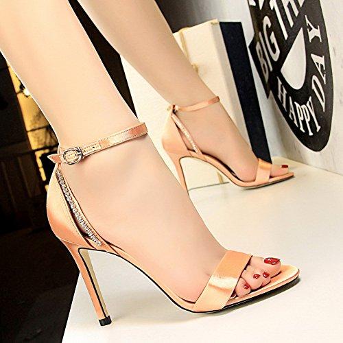 Hebilla Zapatos Ladies Sandalias Nupcial del Stiletto Wealsex Champagne Correa Clásico satén corte de tiras Heels Toe Diamante Party Boda de Peep de tobillo High pnYwd8ZqdR