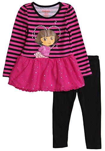Nickelodeon Little Girls' Dora 2 Piece Stripe Long Sleeve Legging Set, Berry Gift, 5