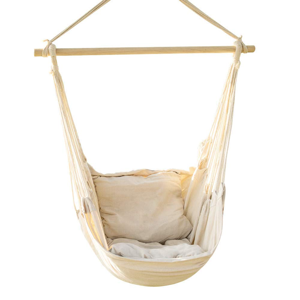 Bormart Hanging Rope Hammock Chair Large Cotton Weave Porch Swing Seat Comfortable and Durable Hanging Chair for Yard, Bedroom, Porch, Indoor, Outdoor - 2 Seat Cushions Included (White) by Bormart