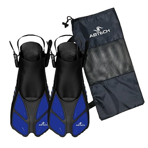 ABTECH Snorkel Swim Fins Flippers – Short Adjustable Fins for Snorkeling, Diving and Swimming – Suitable for Man, Women and Kid – Mesh Bag Included - Adults ML/XL (Fins Snorkel Boots)