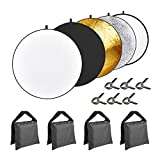 Neewer 5-in-1 43 inches/110 centimeters Lighting Reflector Disk (Translucent,Silver,Gold,White,Black) with 4-pack Sandbags(Black,Empty) and 6-Pack Backdrop Clamps for Camera Photo Studio Photography