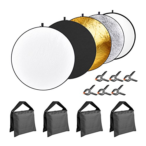 Neewer 5-in-1 43 inches/110 centimeters Lighting Reflector Disk (Translucent,Silver,Gold,White,Black) with 4-pack Sandbags(Black,Empty) and 6-Pack Backdrop Clamps for Camera Photo Studio Photography by Neewer