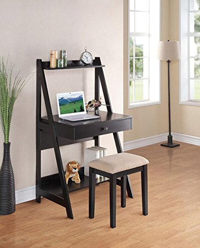 Bookcase Desk Ladder (Poundex PDEX-F4682 Writing Desk and Stool with Black Color Finish Pine Wood)