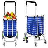 Meflying Folding Shopping Cart with Swivel Wheels and Oxford Cloth Bag | Heavy Duty Stair Climbing Cart | Grocery Laundry Cart (US Stock) (Type1)
