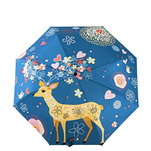 (rngysdhj Umbrella,Sun UmbrellaDesign Women's Umbrella Oil Painting 3 Folding Parasol Lady Portable Girl Gift for Kids )