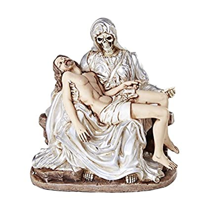 Santa Muerte Statue Piadosa La Pieta Compassion of The Holy Death Saint  Religious Statue 7 Inch White Tunic Purification Santisima Muerte Sculpture