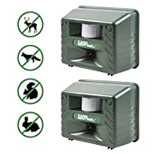 Aspectek - 2 PACK - UPGRADED Yard Sentinel - Electronic Ultrasonic Animal Control, Sound Frequency: 15kHz-20kHz, Pest Control,Cat Repellent, Dog Repellent, Deer Repellent, Mice Repellent, Bird Repellent, Pest Repeller with Motion Sensor