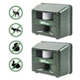 Aspectek - Upgraded Powerful Yard Sentinel Outdoor Ultrasonic Animal Control Pest Repeller - Deer, Cats, Dogs, Mice Repellent Eliminator Pest Control- 2 Pack Including AC Adapter, Extension Cord
