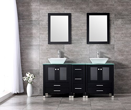 Double Ceramic Sink - Sliverylake 60 Inches Bathroom Double Ceramic Sink Tempered Glass Countertop Vanity Wooden Cabinet w/Mirror