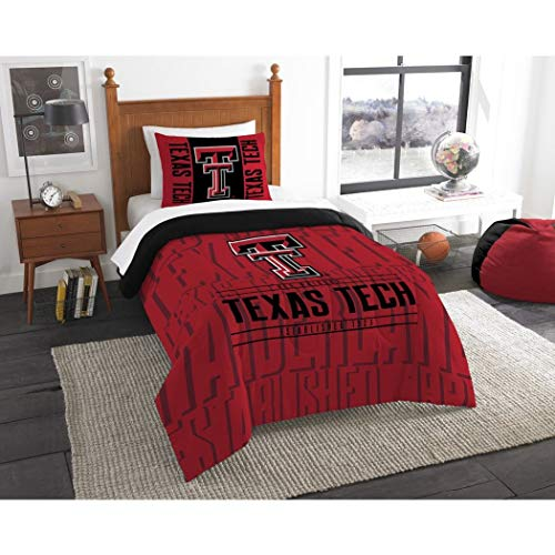2pc NCAA Texas Tech Red Raiders Comforter Twin Set, Sports Patterned Bedding, College Football Themed, Team Spirit, Fan Merchandise, Team Logo, Red Black