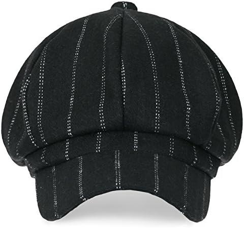 8-Pannel ウールブレンド ニュースボーイ キャビー キャップ ストライプ あひる ビル フラット ハンチング / キャスケット 帽子