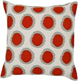 20'' Ecliptic Blood Orange and Cream White Decorative Square Throw Pillow