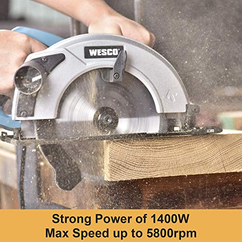Circular Saw, WESCO 1500W Electric Saw 5800RPM, 24T/40T Blades(185mm), Max Cutting Depth 65mm(90°), 45mm(45°) for Cutting Wood, PVC Pipe, Soft Metal, Tile, Plastic /WS31441.2