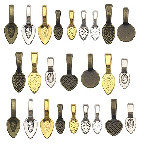 130pcs Mix Color Spoon DIY Oval Glue on Bails-Small Pendant Bails-Jewelry Bails For Pendant Making Scrabble Or Glass Cabochon Tiles Pendants (130pcs Mix)
