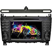 YINUO 7 inch Android 7.1.1 Quad Core Car Stereo 2 Din HD Touch Screen Car Radio Receiver DVD GPS Navigation for Benz C-Class W203 (2004-2007)/Benz CLK W209(2004-2005),Backup Camera