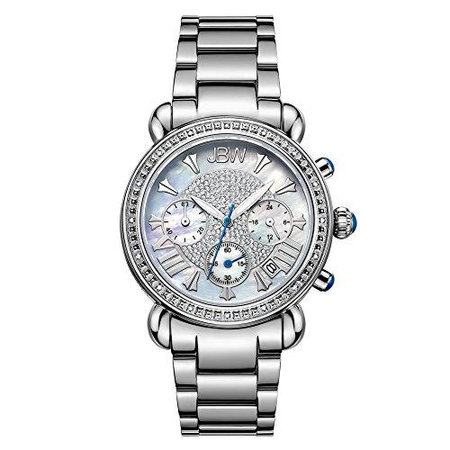 JBW Luxury Women's Victory 0.16 Carat Diamond Wrist Watch with Stainless Steel Link Bracelet